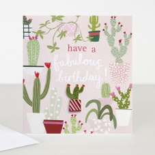 Cactus Birthday Card with Enamel Cactus Pin By Caroline Gardner