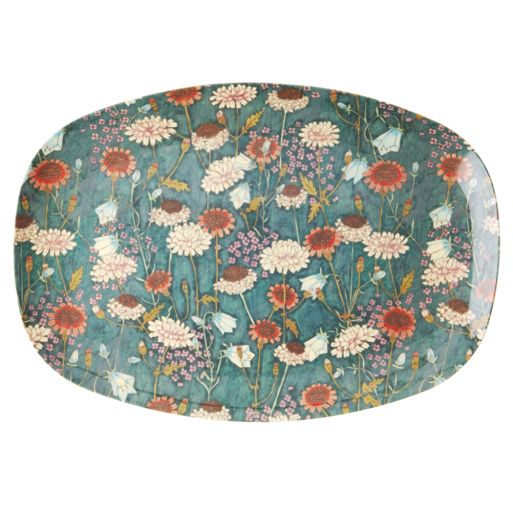 Fall Flower Print Rectangular Melamine Plate Rice DK
