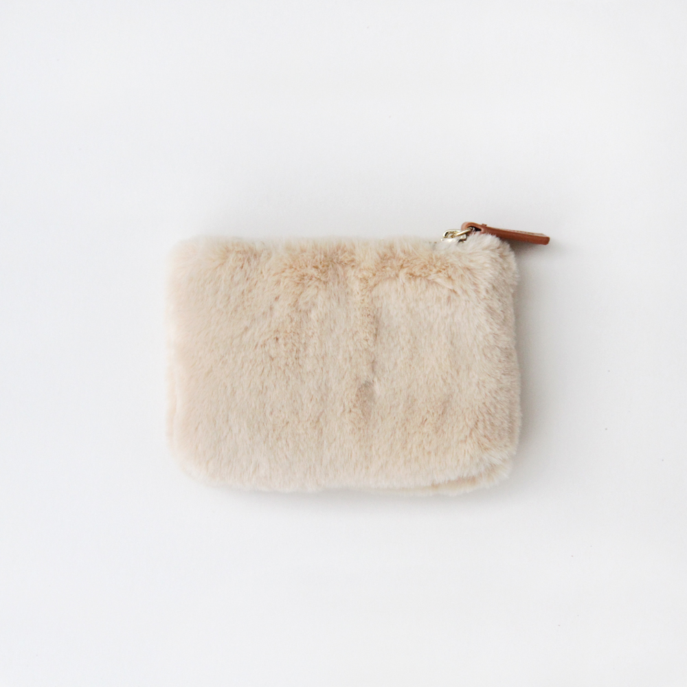 Faux Fur Coin Purse in Natural By Caroline Gardner
