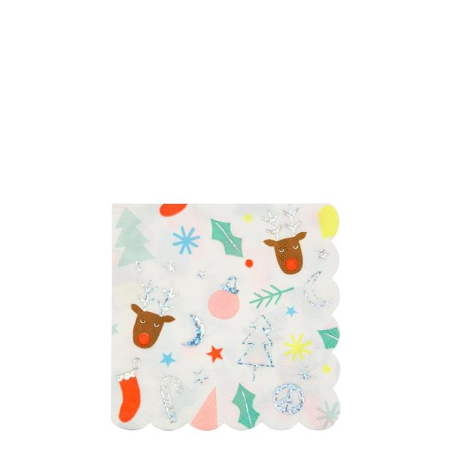 Colourful Festive Print Small Cocktail Paper Napkins By Meri Meri