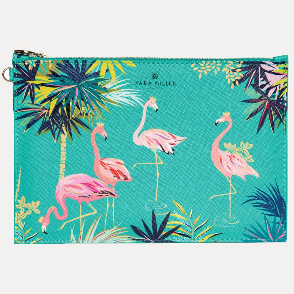 Green Flamingo Print Zip Pouch By Sara Miller