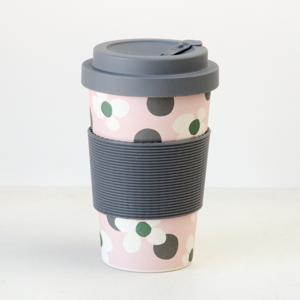 Floral Spot Print Bamboo Coffee Cup By Caroline Gardner