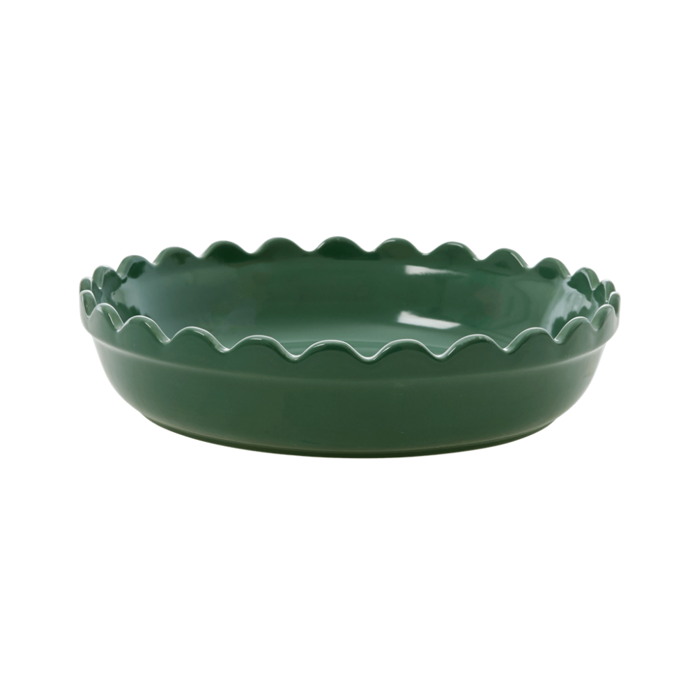 Small Stoneware Pie Dish in Forest Green by Rice DK