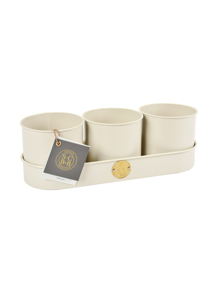 Sophie Conran Set of 3 Cream Metal Herb Pots with Tray