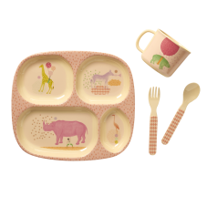 Baby Girl 4 Piece Melamine Dinner Set in Gift Box By Rice