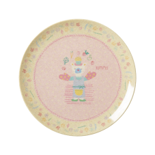 Girls Pink Cooking Print Melamine & Bamboo Plate Rice DK