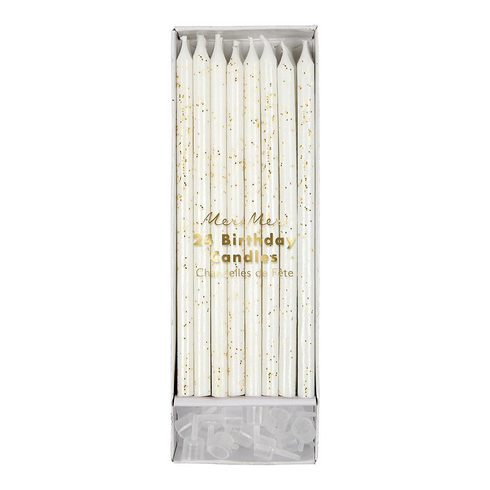 Gold Glitter and Ivory Tall Birthday Candles By Meri Meri