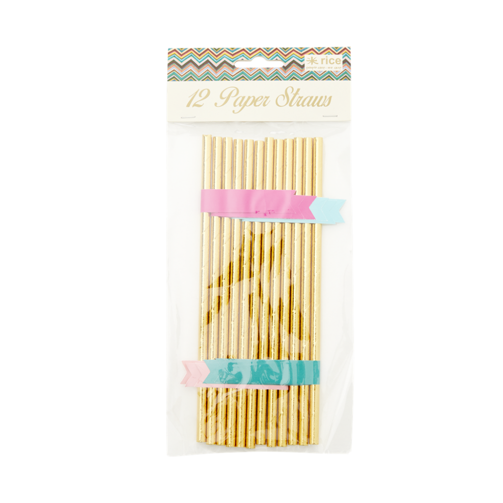 Gold Paper Straws with Name Banner By Rice DK
