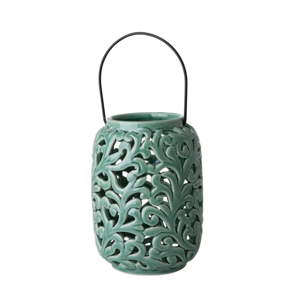 Green Ceramic Lantern By Rice Dk Vibrant Home