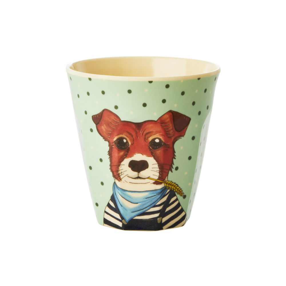 Kids Small Melamine Cup Pale Green Dog Print Rice DK