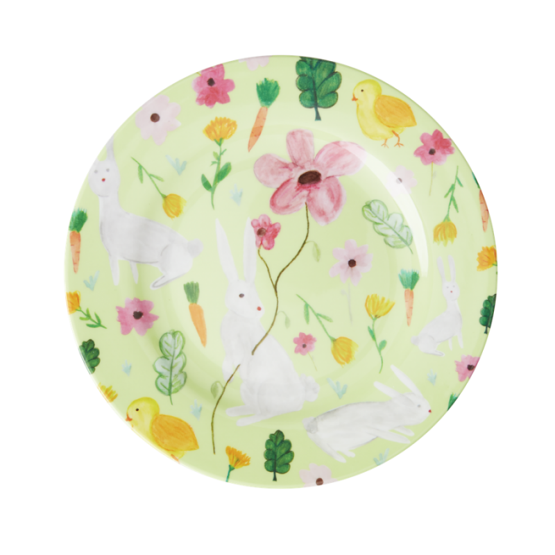 Green Easter Print Melamine Side Plate By Rice DK