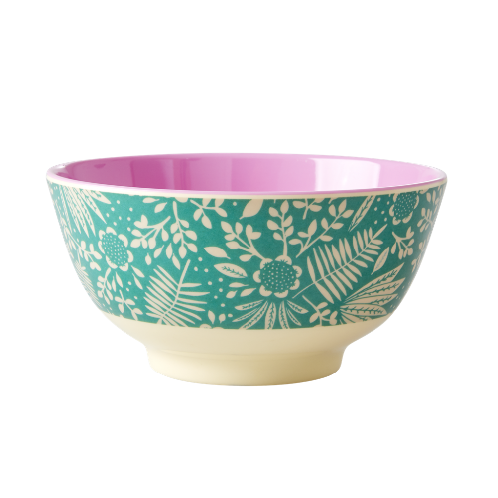 Fern and Flower Print Melamine Bowl By Rice DK