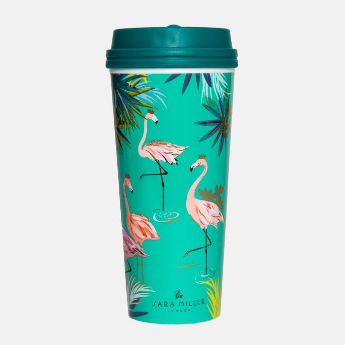 Sara Miller Green Flamingo Print Thermal Travel Cup