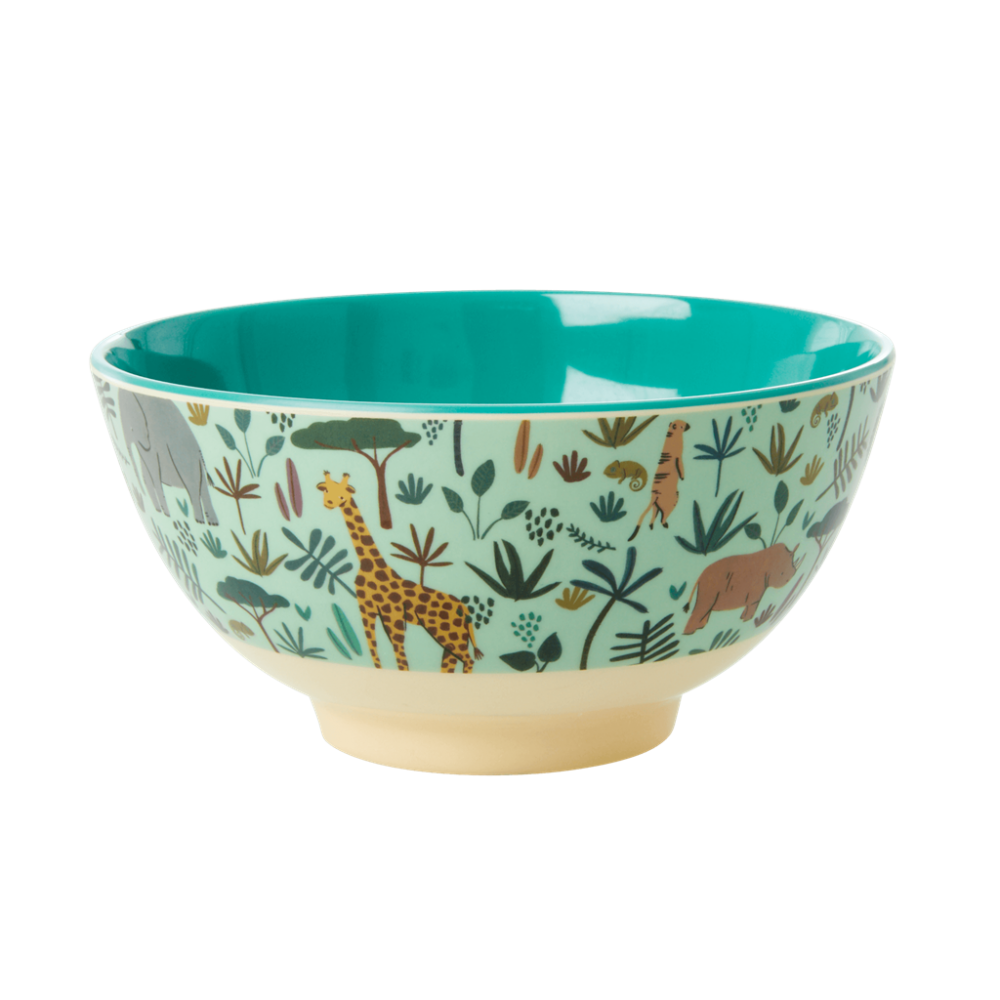 Jungle Animal Print Melamine Bowl Pale Green Background Rice DK