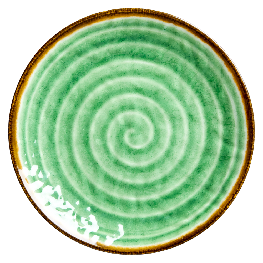 Green Melamine Plate with Swirl Print Rice DK