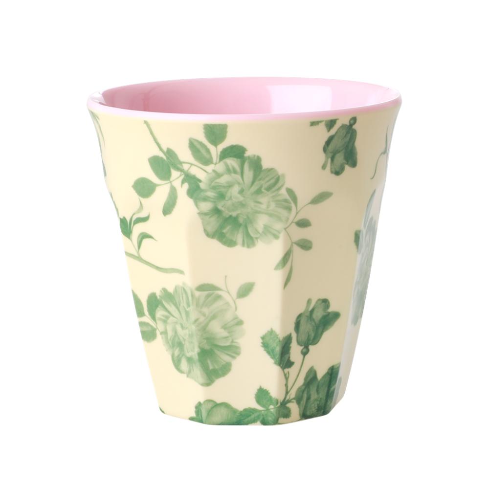 Green Rose Print Melamine Cup By Rice DK