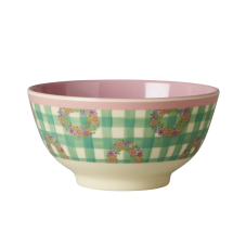 Green Check Vichy Print Melamine Bowl With Soft Pink Rice DK