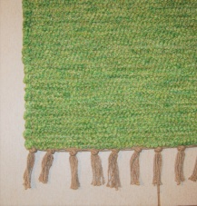 Medium Sized Handmade Green Cotton Portugese Rug