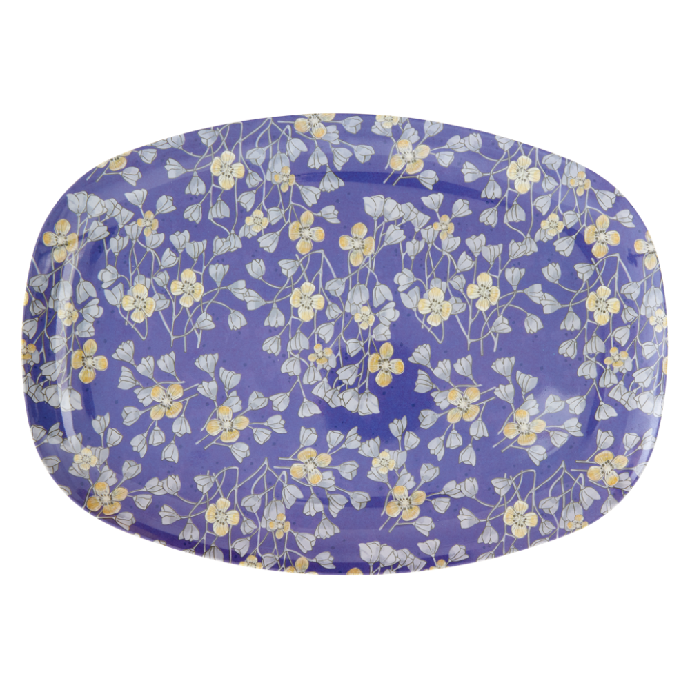 Hanging Flower Print Rectangular Melamine Plate Rice DK