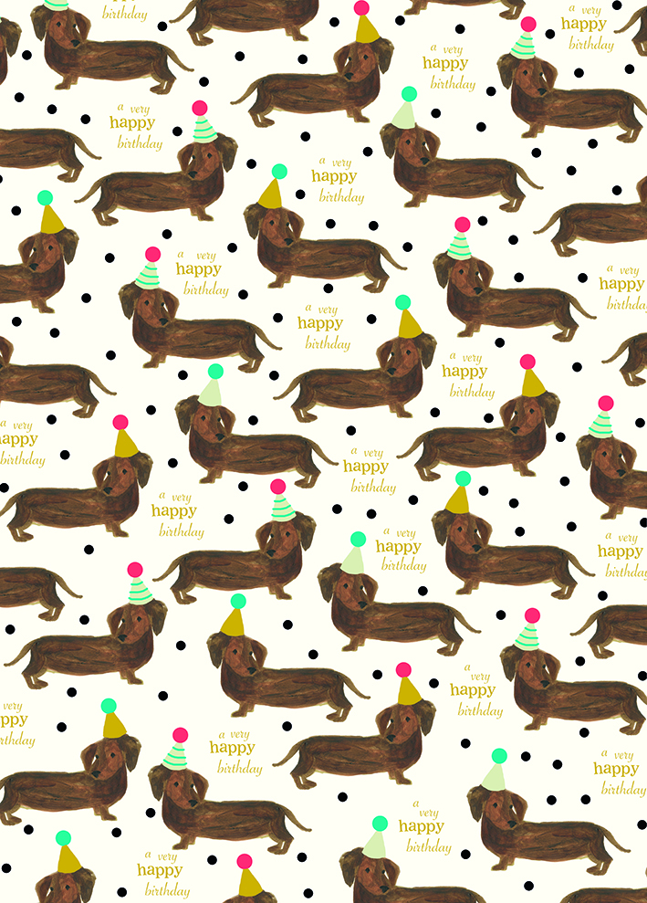 Happy Birthday Sausage Dog Wrapping Paper By Caroline Gardner Vibrant Home