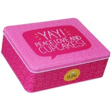 Happy Jackson Pink Peace Love and Cupcakes Tin