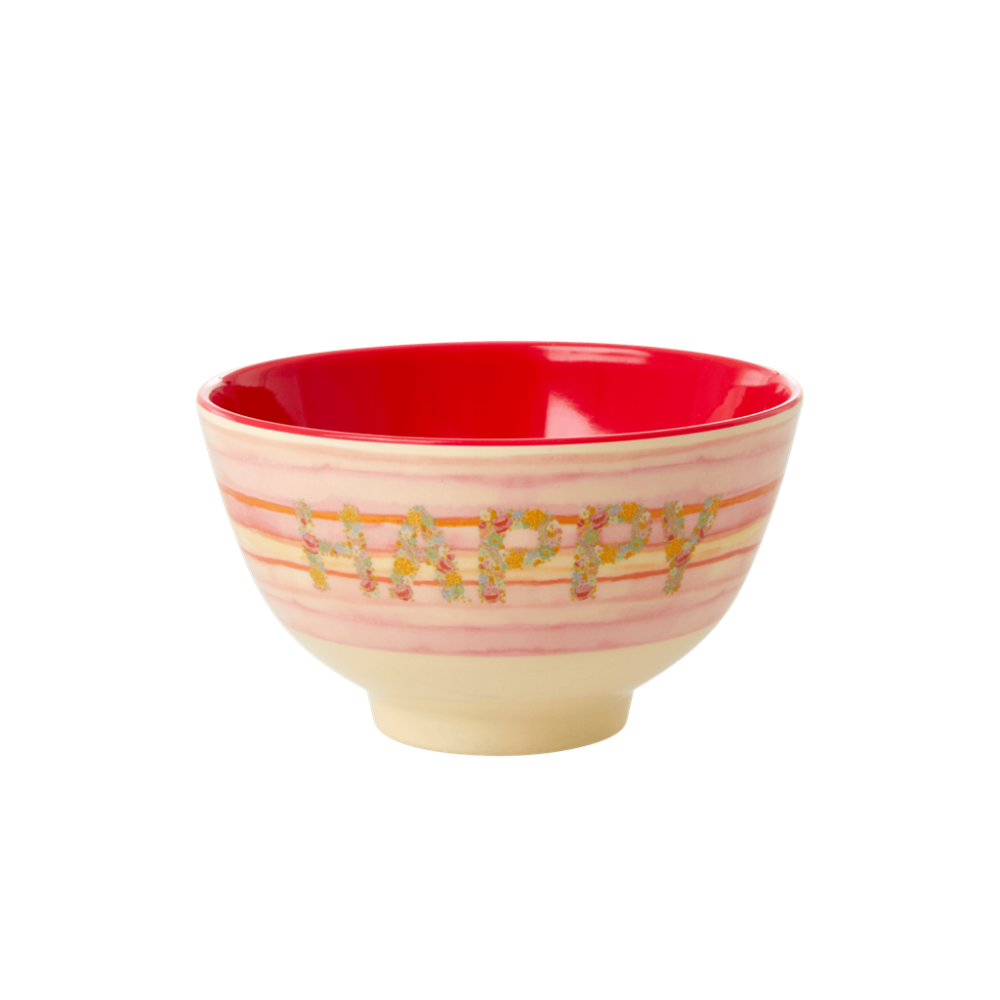Happy Pink Print Small Melamine Bowl Rice DK