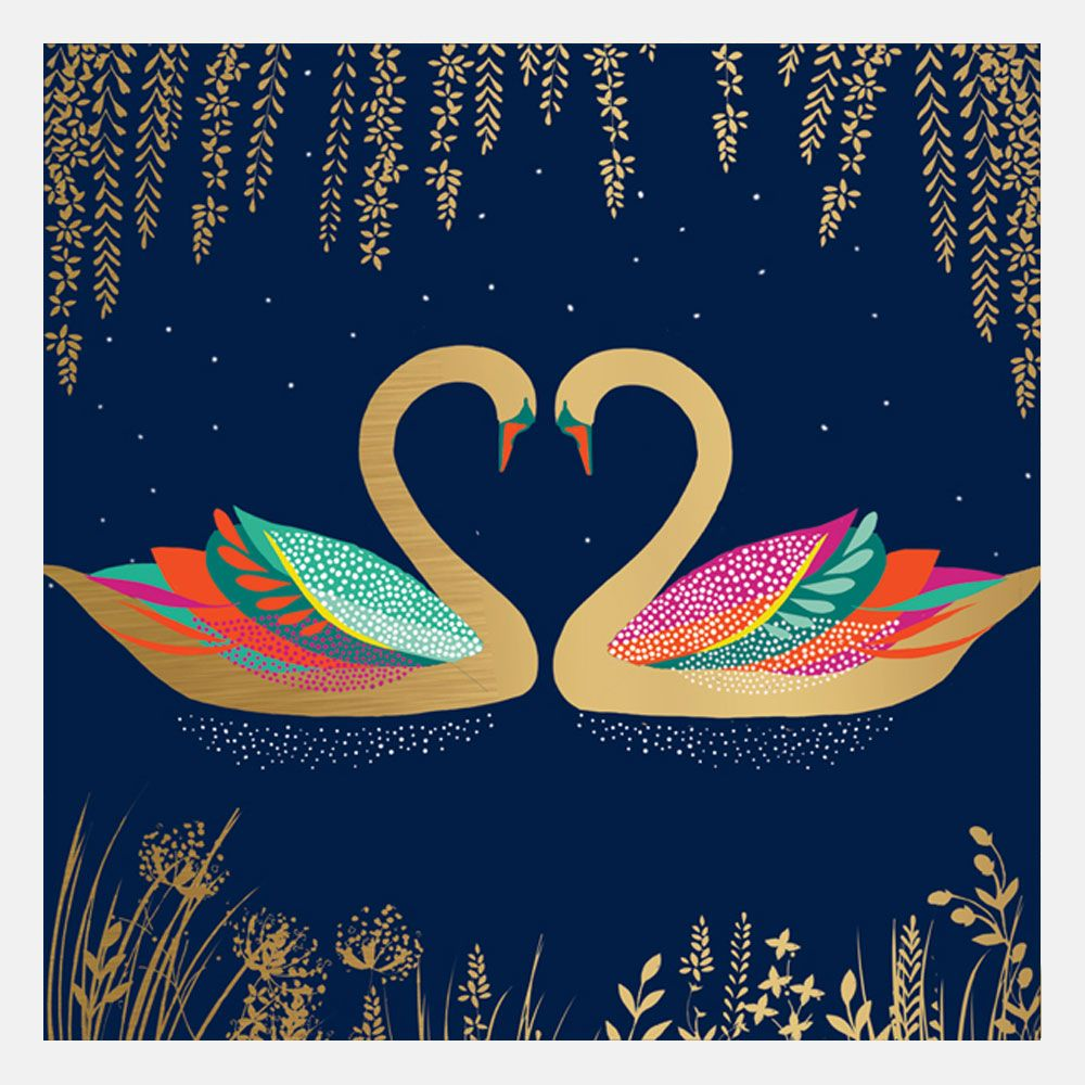 Heart Swans Card By Sara Miller London