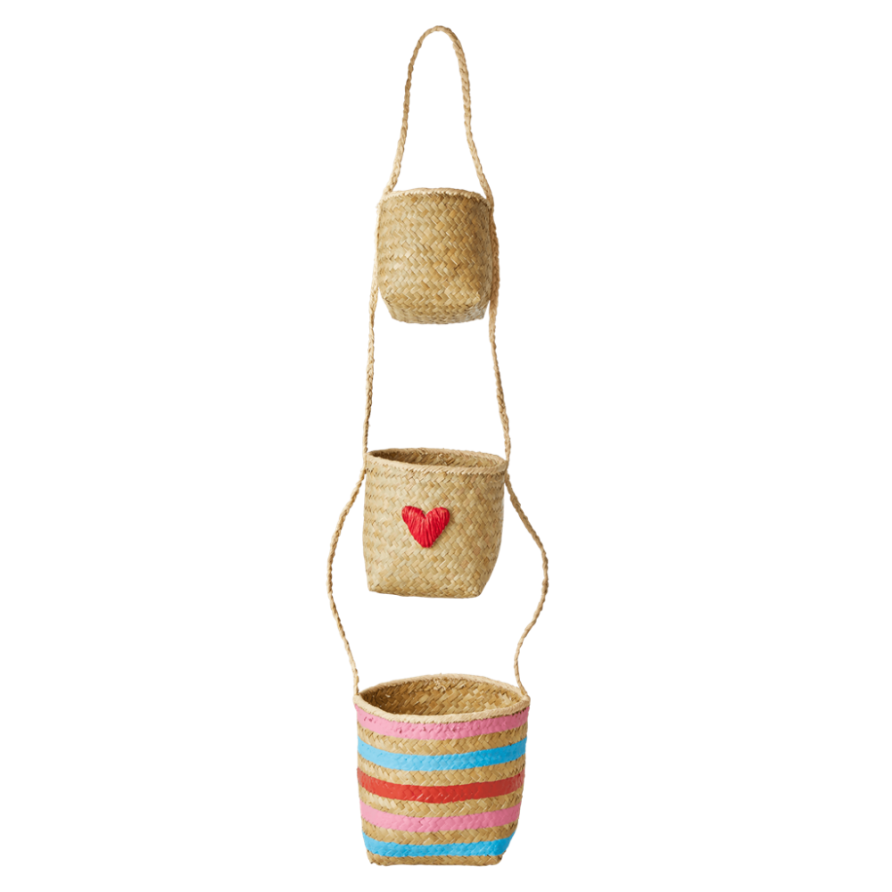 Seagrass Hanging Storage Baskets Heart & Stripes Rice DK