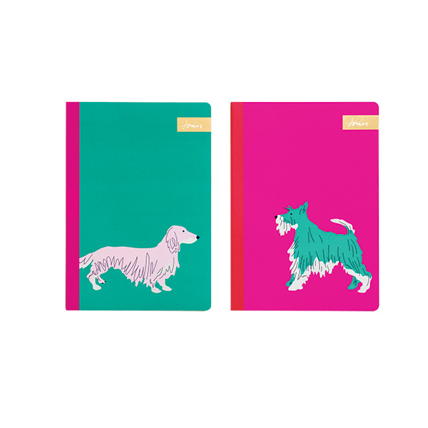 Set of 2 A5 Pink & Green Dog Print Notebooks By Joules