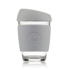 Joco glass reusable coffee cup in Cool Grey