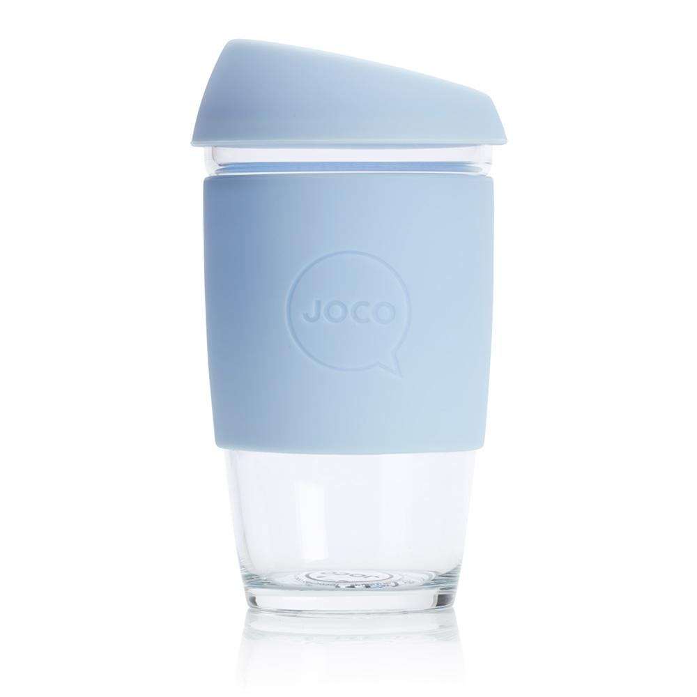 Joco glass reusable coffee cup in Vintage Blue 16oz