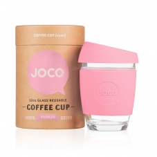 Joco Coffee Cup - Glass Reusable Cup Strawberry Pink