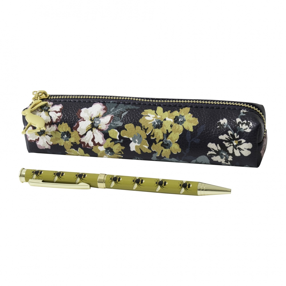 Bee Print Pen & Cambridge Floral Pencil Case Set By Joules
