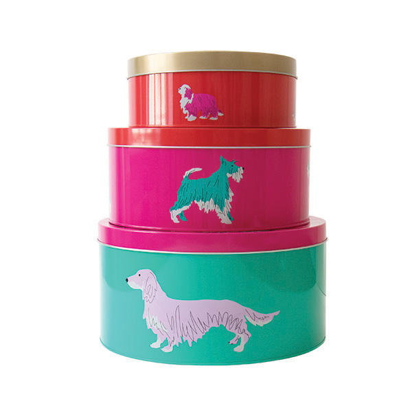 Set of 3 Cake Tins Green & Pink Dog Print By Joules