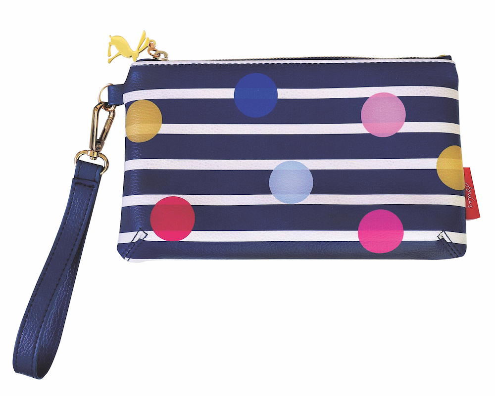 Stripe & Spots Print Small Zip Pouch By Joules