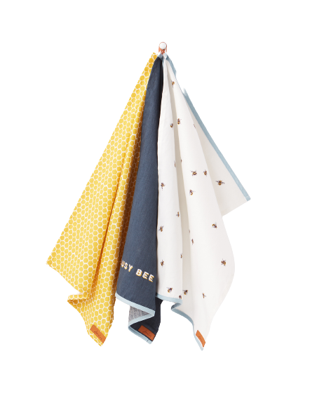 Bee Print Set of 3 Tea Towels By Joules
