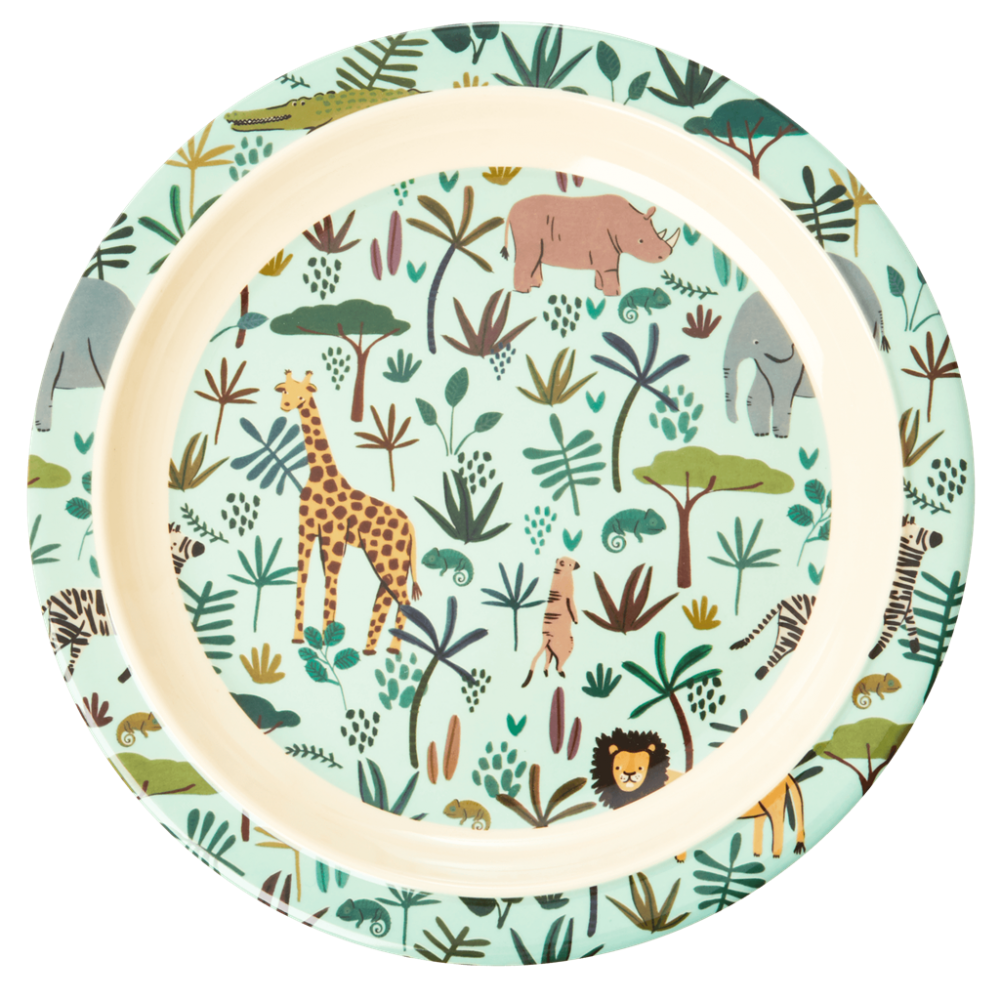 Jungle Animal Print Kids Melamine Plate Pale Green Background Rice DK