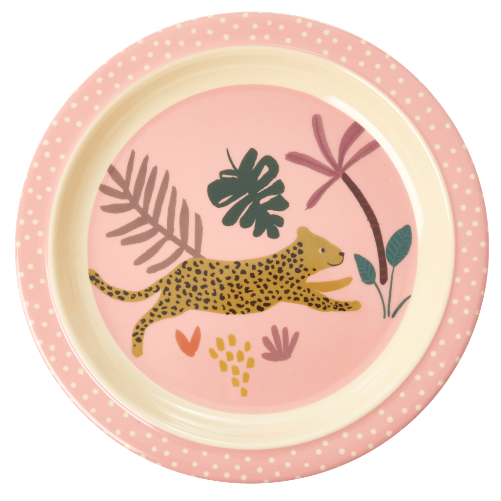 Jungle Animal Print Kids Melamine Plate Leopard Pink Background Rice DK