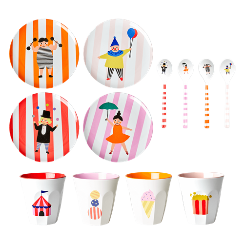Kids Circus Print Melamine Set for 4 By Rice DK