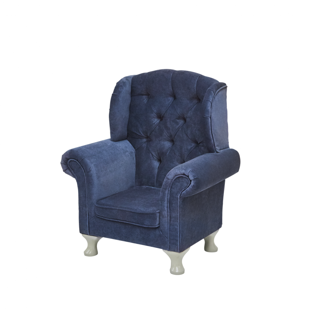 Childs Wing Chair In Dark Blue With Beige Legs By Rice DK