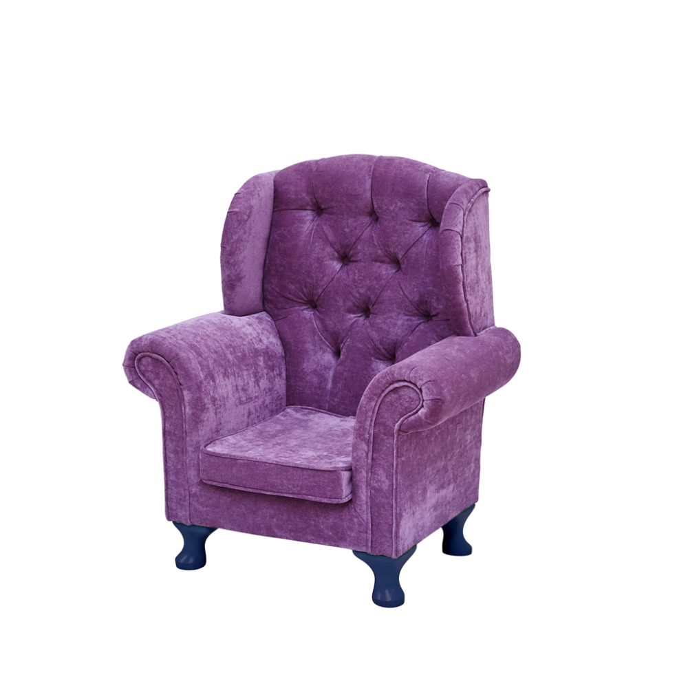 Childs Wing Chair In Dark Pink With Dark Blue Legs By Rice DK