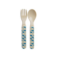 Kids Melamine Spoon & Fork Set Blue Whales & Starfish by Rice DK