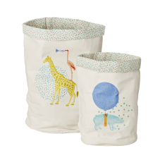 Kids Fabric Storage Bags Set of 2 with Animal Prints By Rice