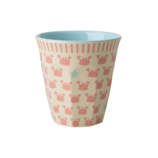Kids Small Melamine Cup Pink Crabs & Starfish Print Rice DK