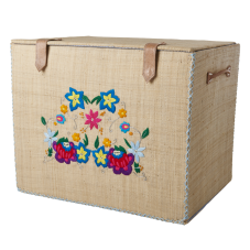 Large Natural Raffia Storage Basket Embroidered Flowers Rice