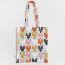 Layered Hearts Canvas Shopping Bag By Caroline Gardner