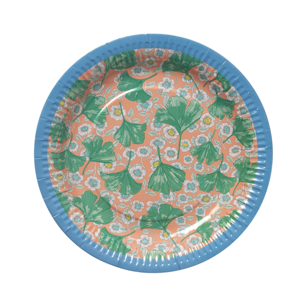 Leaves Flower Print Set Of 8 Paper Plates By Rice Dk Vibrant Home