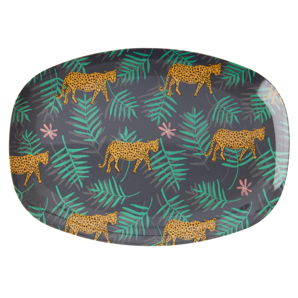 Leopard & Leaves Print Rectangular Melamine Plate Rice DK