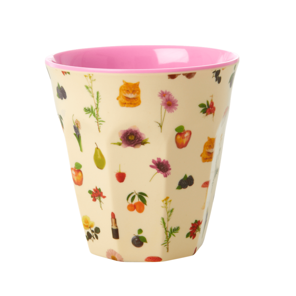 Lipstick Fall Flower Print Melamine Cup By Rice DK