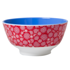 Melamine Bowl - Two Tone with a red Casablanca print by Rice DK